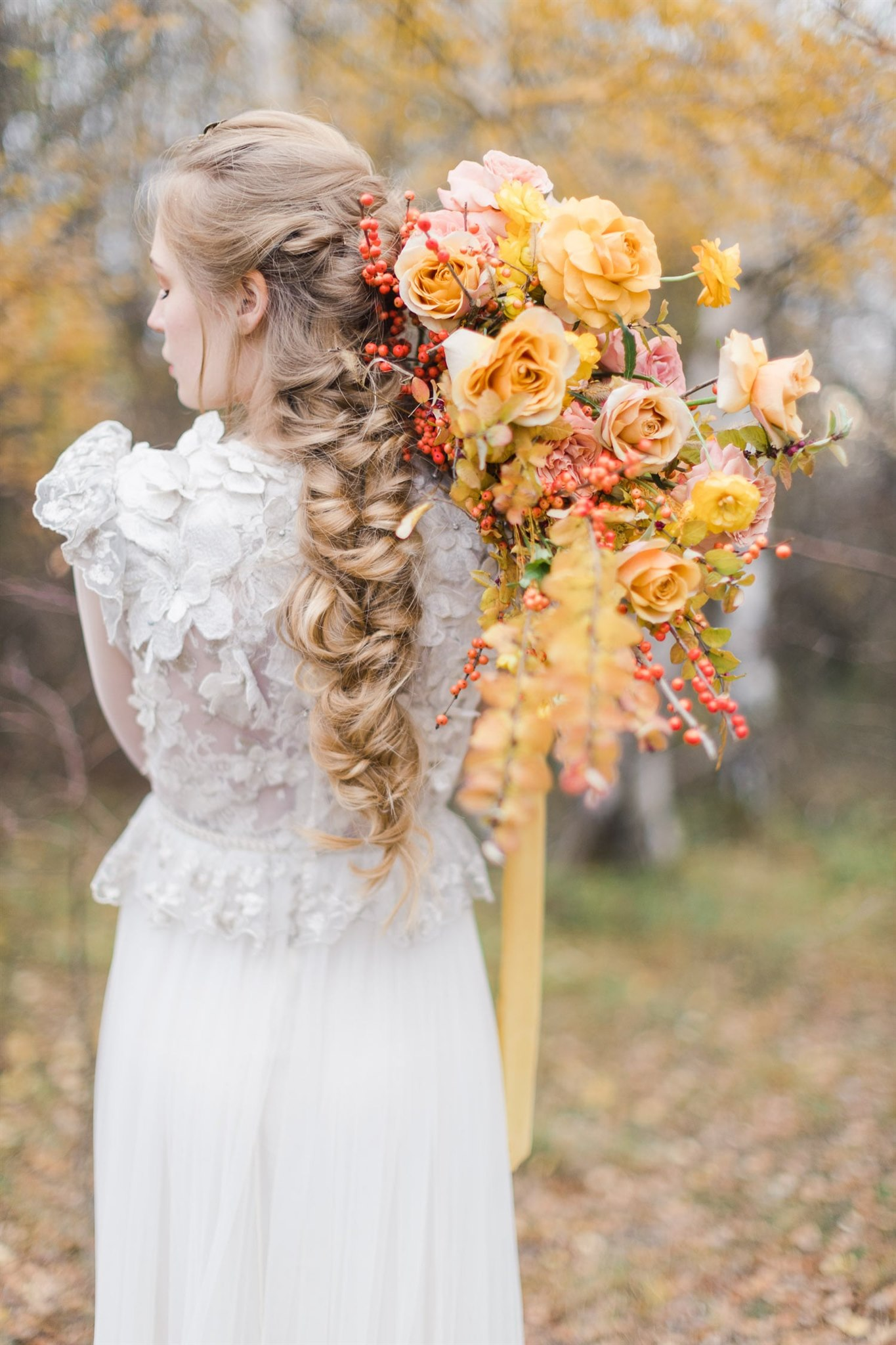 Fall Elopement Inspiration with Gold Florals